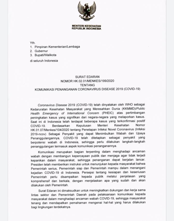 Surat Edaran Menteri Kesehatan Tentang Komunikasi Penanganan Covid 19 Pemerintah Provinsi Lampung